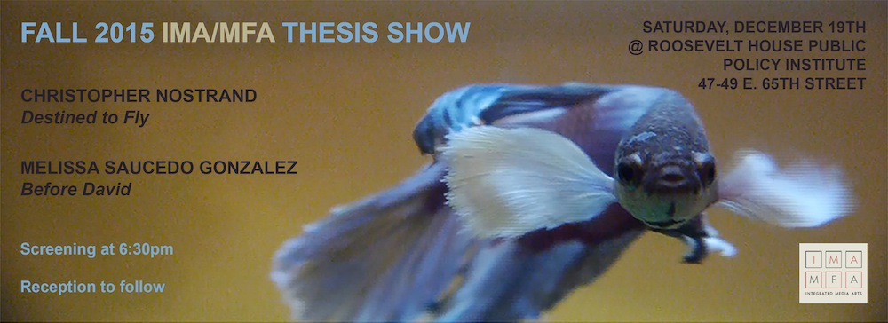 Teaser graphic for Fall 2015 IMA/MFA Thesis Show with a photo of an exotic blue fish