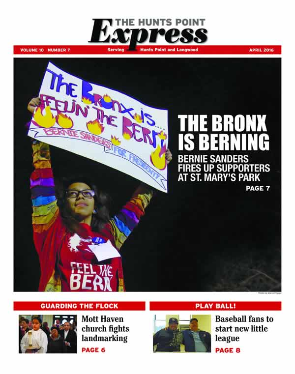 Cover of the Hunts Point Express with girl holding a sign saying the Bronx is feeling the Bern