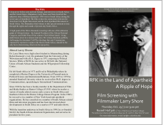 Poster for RFK in the Land of the Apartheid and additional information about Larry Shore