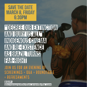 "Poster for the ""Decree Our Extinction"" March 2019 event which includes a graphic of a man holding a camera."