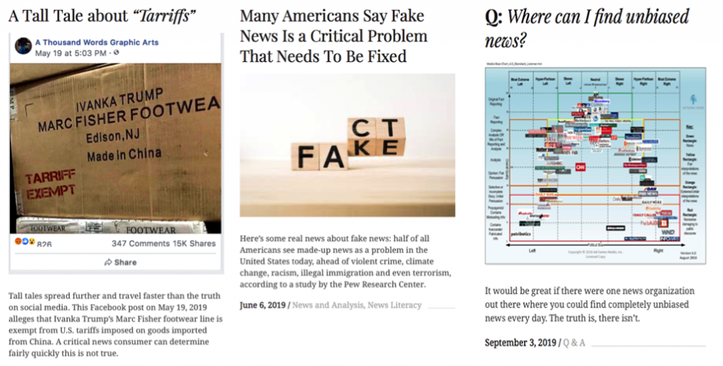 news literacy screenshots of 3 articles