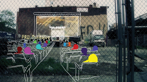 photo and illustration of a movie screening at the park