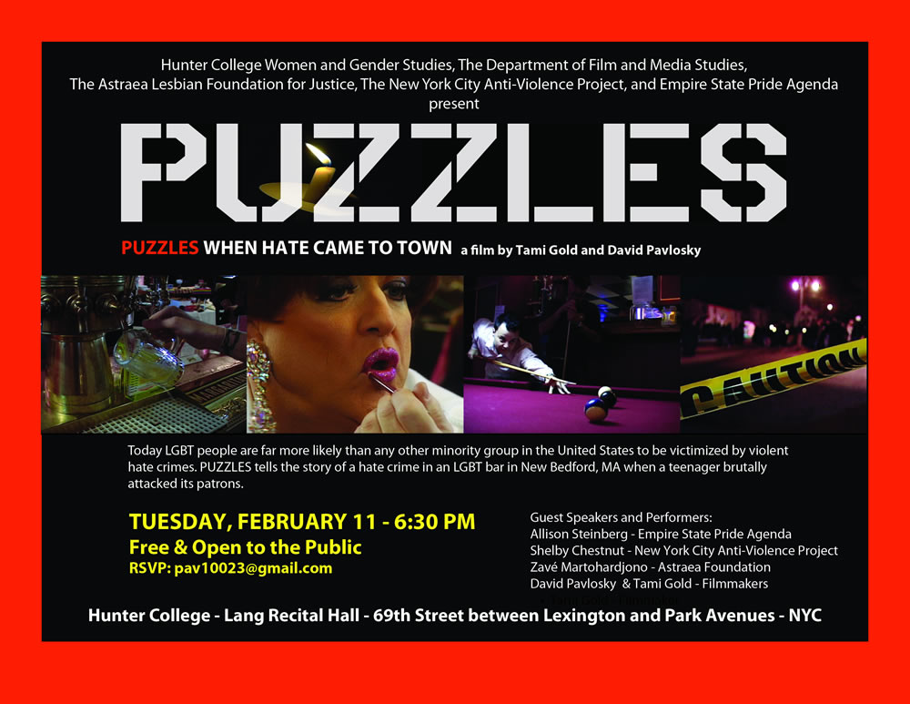 Promotional Poster for Puzzles, showcasing screenshots from the film and the date for the screening