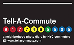 Tell-A-Commute advertisement that looks like a subway station sign