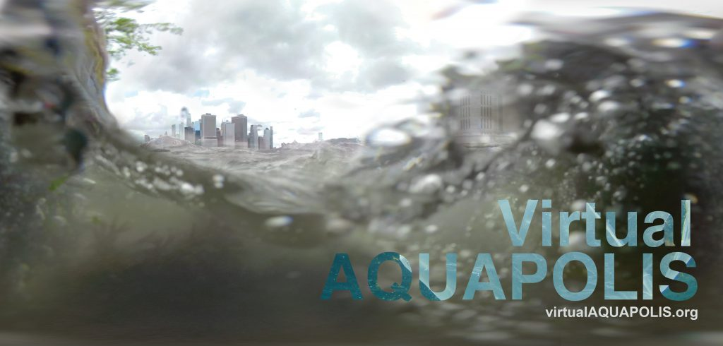 Virtual Aquapolis banner water and city skyline