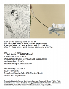 War and Witnessing event poster with a drawing of an amputee and a painting of a man dragged on the floor by a leash