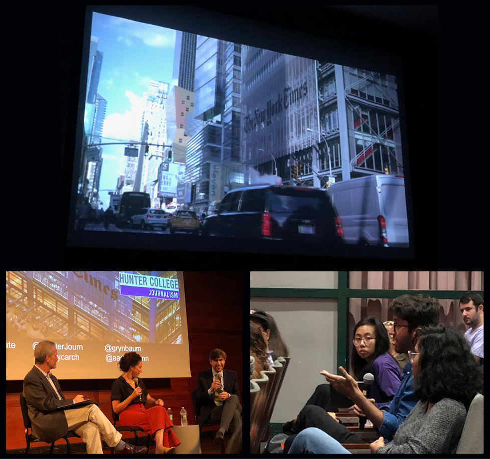 Collection of photos from the Fourth Estate screening, including a screenshot of a film, an interview with the producers, and a photo of the audience