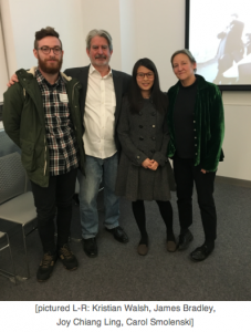 Group shot of Kristian Walsh, James Bradley, Joy Chiang Liu, and Carol Smolenski for the mPathy Project event