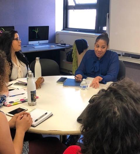 Ivette Davila-Richards speaking to class