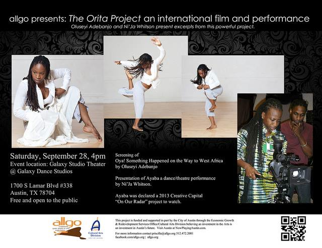 photo of woman dancing and another filming with blurb on 'The Orita Project'
