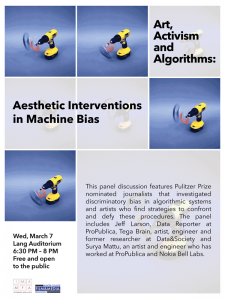 Poster for the event Art, Activism and Algorithms: Aesthetic Interventions in Machine Bias