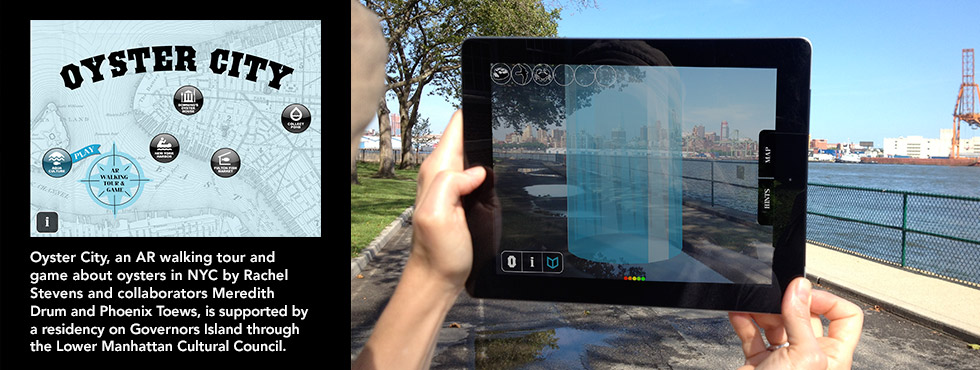 Oyster City blurb and photo of AR using tablet