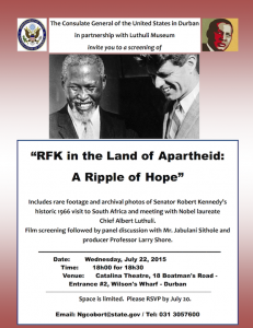 Poster for RFK in the Land of Apartheid: A Ripple of Hope screening