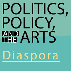 Graphic with the title 'Politics, Policy, and the Arts - Diaspora for Shanti Thakur's panel discussion