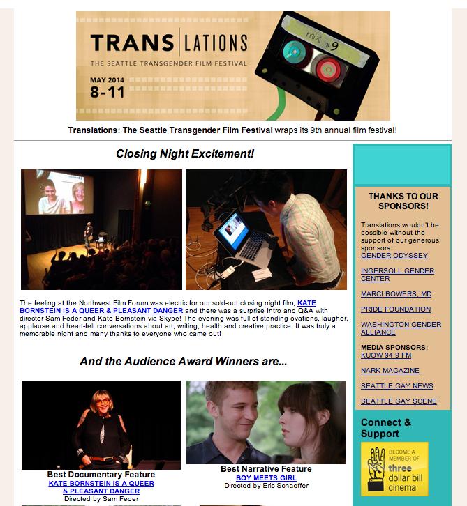 Closing night images from Seattle Transgender Film Festival