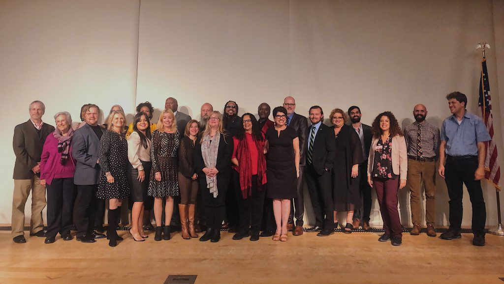 Aronson award winners, justices and organizers took the stage following the awards ceremony. PHOTO: Niamh McAuliffe
