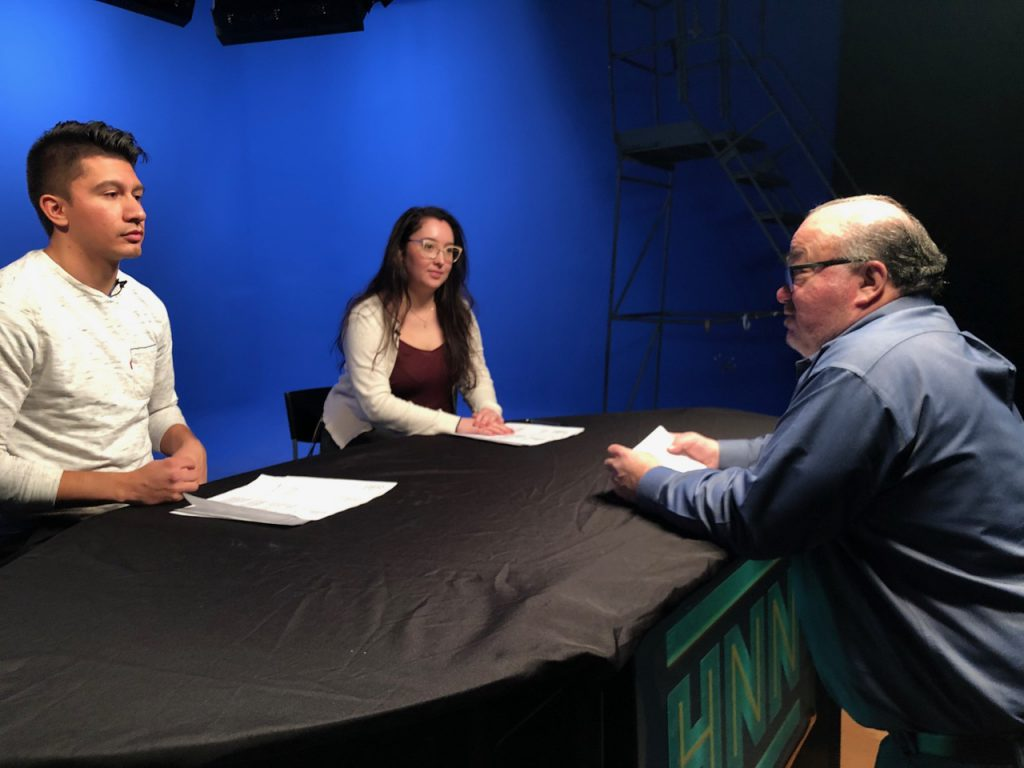 Bourin(far right) shared techniques to students Michelle Velez and Alonso Espinoza on how to appear their best on camera.