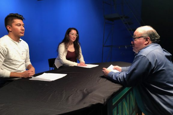 CNN Talent Coach Lenny Bourin with Studio News Production students Michelle Velez and Alonso Espinoza