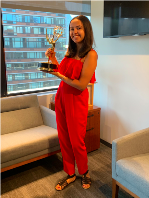 "Chelsea Narvaez with her ""39 Days"" Emmy"
