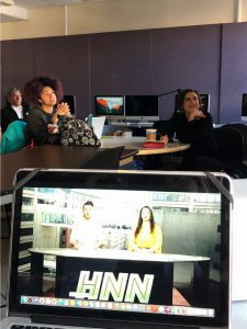 """News12 anchor and reporter Jessica Cunnington sharing her expertise with students from """"Hunter News Now."""""""