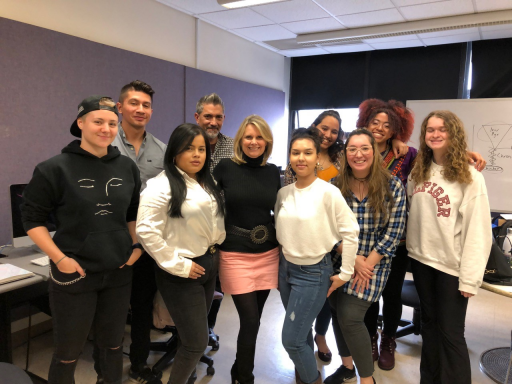 Students in Prof. Sissel McCarthy's Studio News Production class