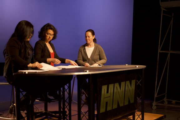 Hunter News Now anchors prepare for the first show of the program's third season.