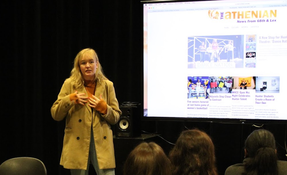 Henson discusses her Pulitzer Fellowship experience at a Journalism Department luncheon last fall. Photo: Kalli Siringas