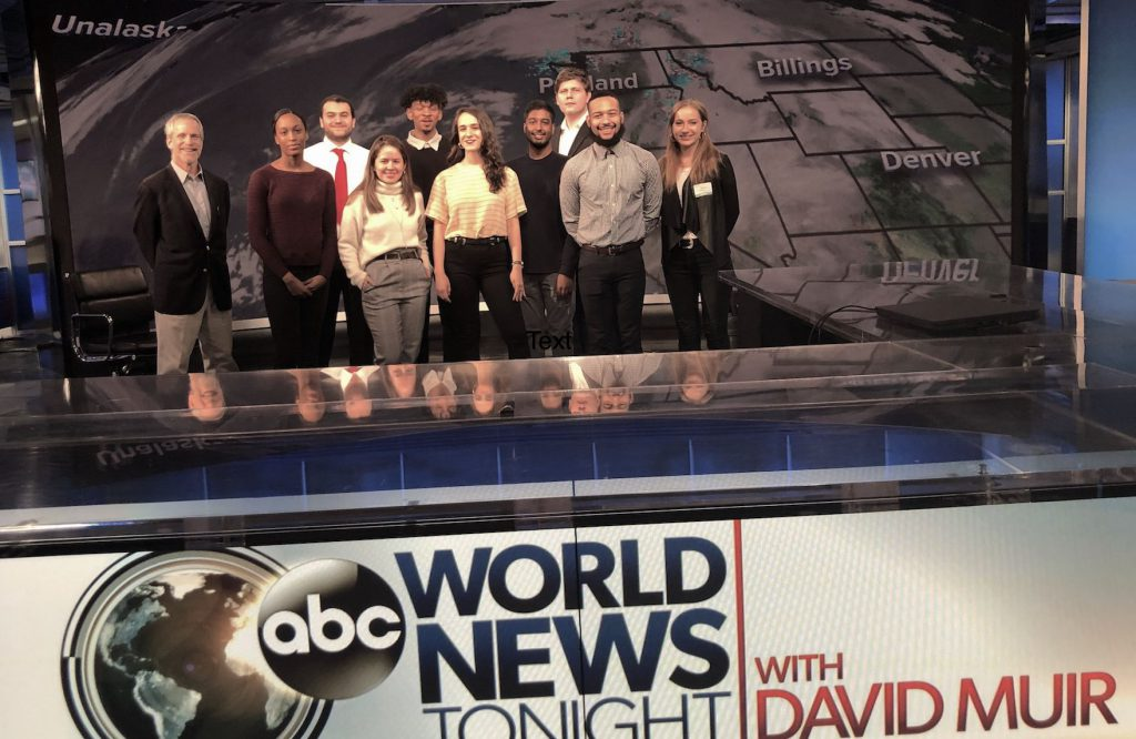 Visiting Hunter Journalism students in ABC News' main TV studio.