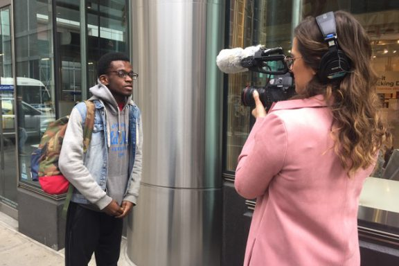 Hunter student Seon Pollard was interviewed by Bloomberg's @TicToc during a group tour of the news organizations headquarters.