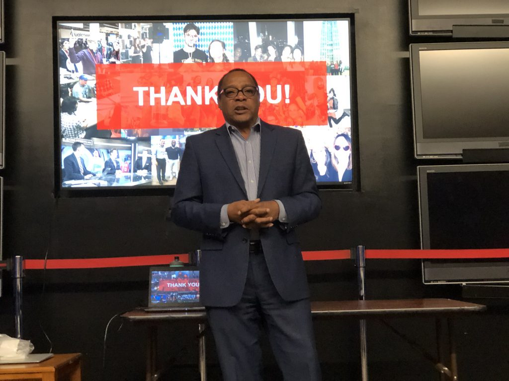 Darius Walker, executive producer at CBS News Digital, shared career advice with students during their visit to the network.