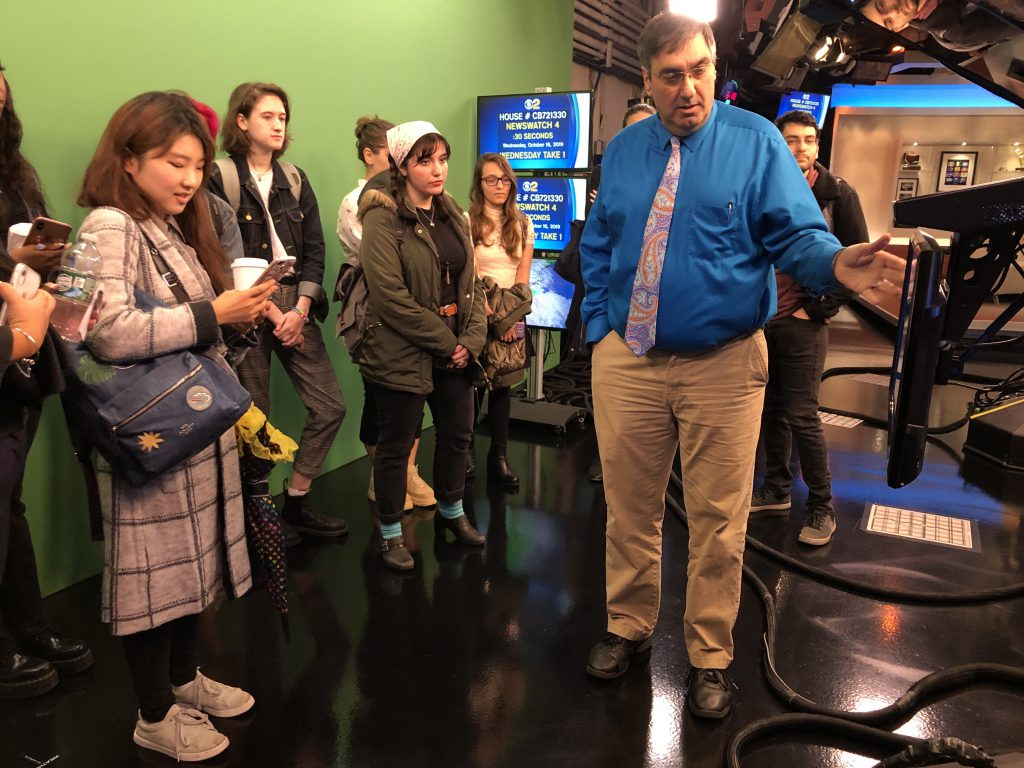 Hunter online journalism students during an Oct. 16 tour of CBS Broadcast Center studios.