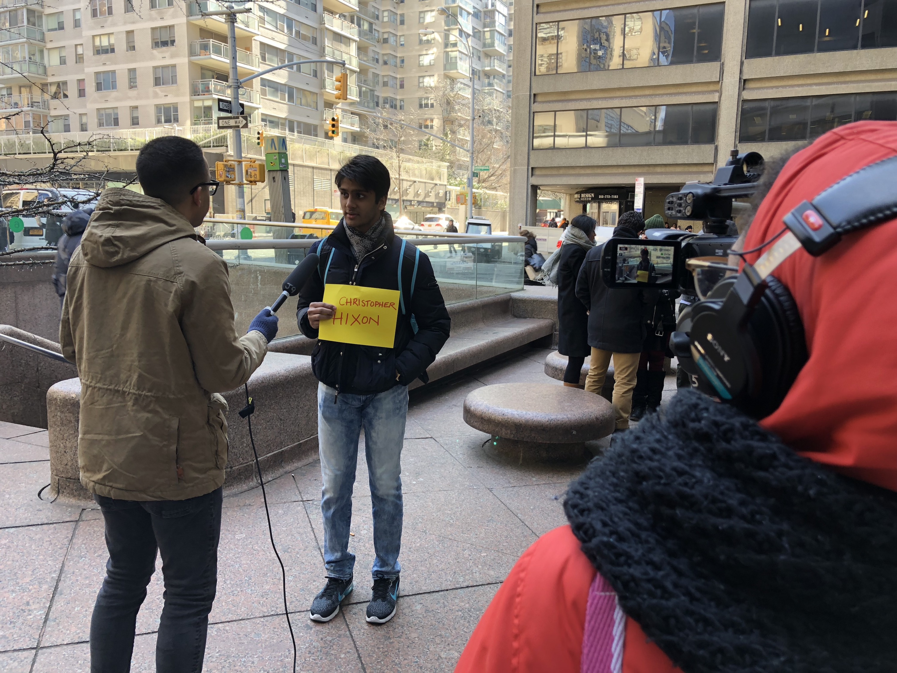 Hunter News Now student Victor Tiburcio Jr. on the scene covering the Hunter College walkout to protest gun violence and remember the victims of of Parkland Florida on March 14, 2018.