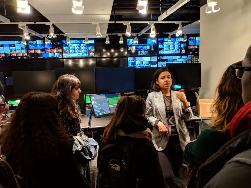 Hunter students visited ABC News with Olivia Leach, a CUNY Journalism School grad who serves as executive assistant to the producer of World News Tonight with David Muir.