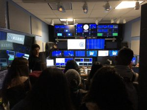 Hunter journalism students visiting state-of-the-art studios at CUNY TV.