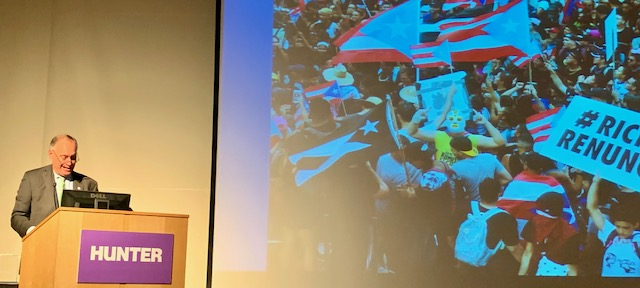 The Chancellor of CUNY, Felix Matos Rodriguez, was also present -- and with a backdrop of images from Puerto Rican resistance protests, he spoke about being the first Puerto Rican to hold the position. PHOTO: Rich Mendez