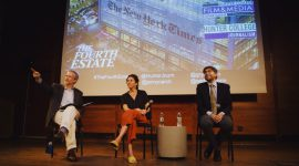 Panelists Adam Glenn, Jenny Carchman and Michael Grynbaum