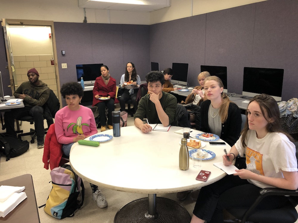 Students at Pulitzer Center information lunch