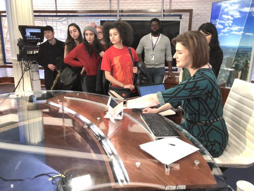 NY1 Anchor Roma Torre (at right) and Associate Producer Elijah Stewart (at rear, second from right) share insights with touring Hunter journalism students.