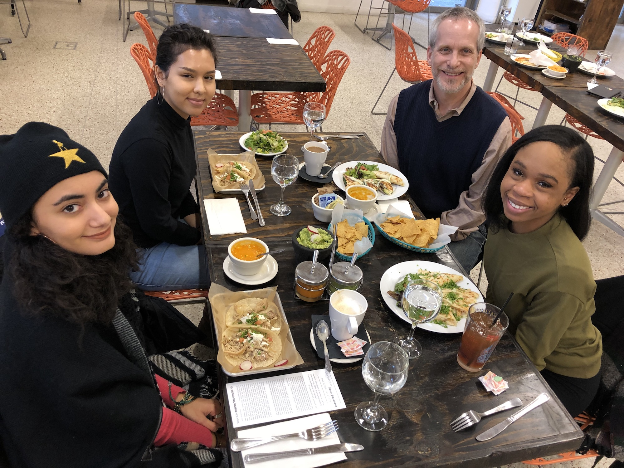 Lunch at El Museo del Barrio, with (clockwise from upper right) Prof. Adam Glenn and students Nneka Alaka, Eileen Cruz and Krystie Calle.