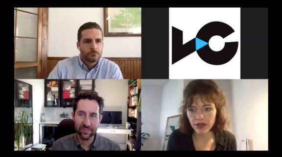 "Journalist Eli Kintisch (lower left) is joined by panelists Andrew James Benson (upper left) and Jennie Butler (lower right) in a webinar to discuss ""The Art of the Remote Interview"""
