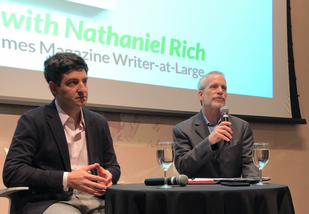 Nathaniel Rich (above, left) with Prof. Adam Glenn during the Pulitzer event