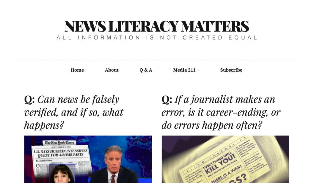 Newsliteracymatters.com web page