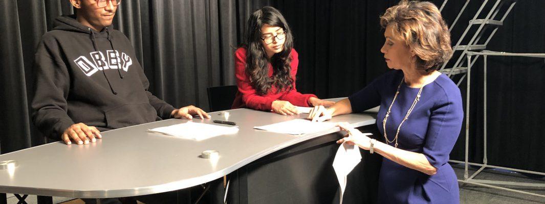 Fortune Magazine's Susie Gharib with Hunter video news reporting students.