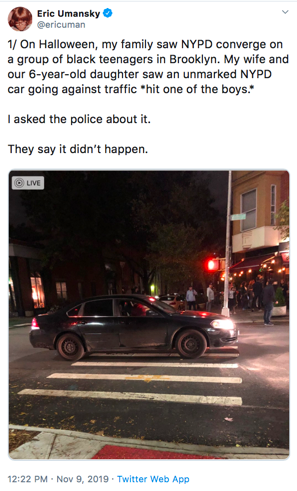 A tweet by Umansky as part of his effort to identify eyewitnesses to an accident involving an unmarked police car.
