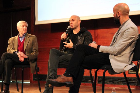 The legacy of broadcast journalism legend Mike Wallace was the subject of a Hunter College panel featuring CBS News producer Bob Anderson (above left) and Avi Belkin (middle), documentary filmmaker. Journalism Professor David Alm (at right) moderated the Nov. 6 discussion. PHOTO: Kalli Siringas